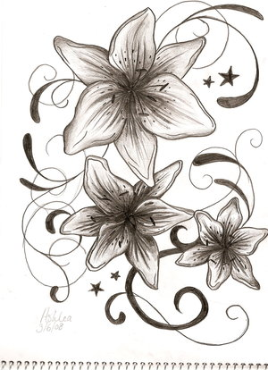 Picturelily Flower on Tattoos Avenged  Lily And Stars Tattoo Design