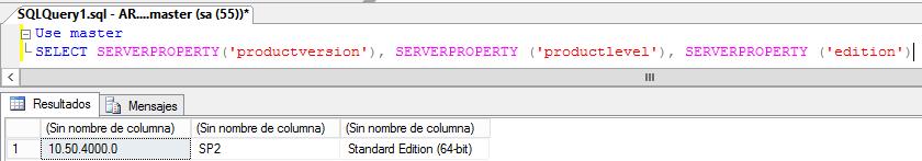 MSSQL: Saber la versión de SQL Server instalada