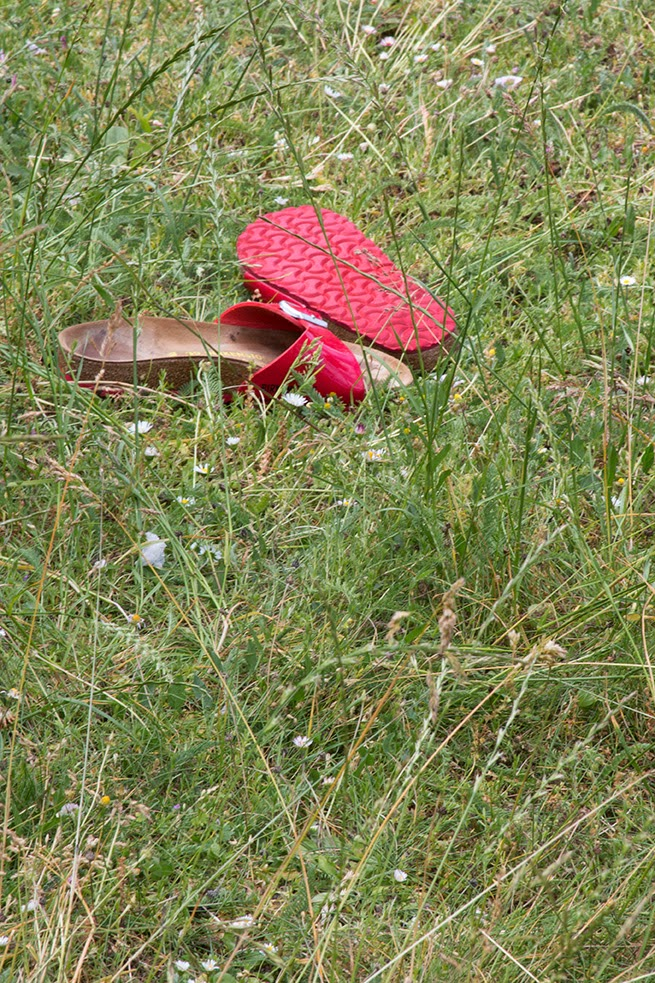 red slippers in the grass