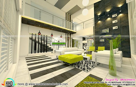 Double height living room interior