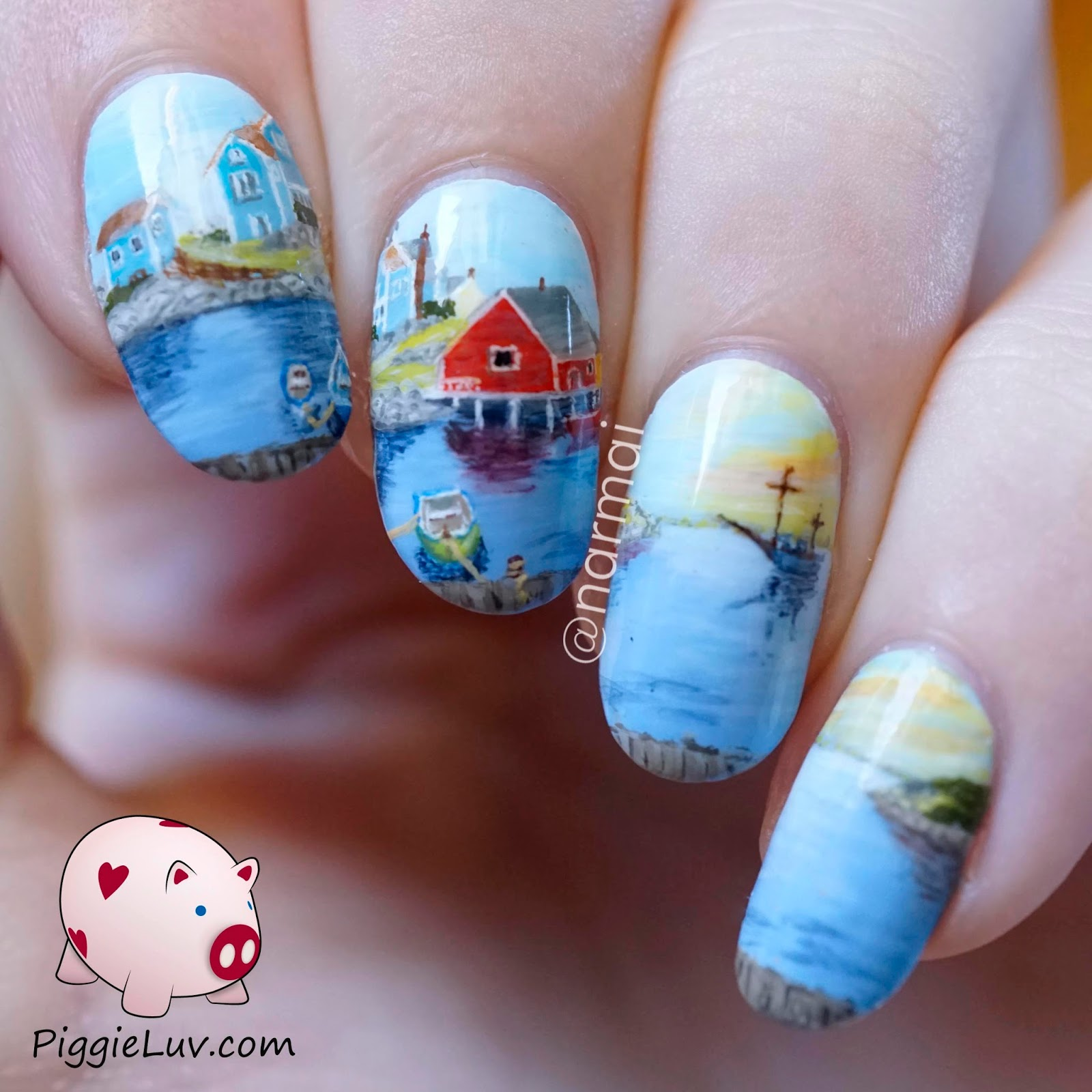 PiggieLuv: Peggy\'s Cove, nail art inspired by Raymond Edmonds