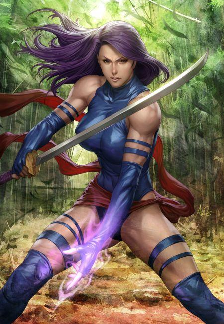 Stanley Lau artgerm deviantart ilustrações mulheres sensuais games quadrinhos X-Men - Psylocke