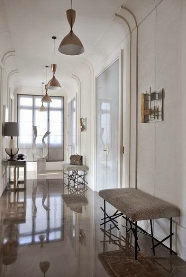 bright shiny floors modern lighting hallway