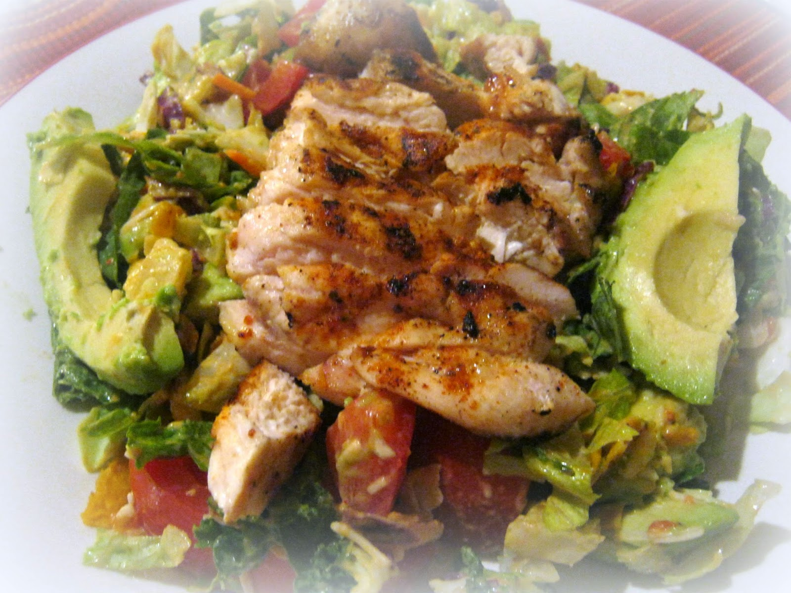 Chopped Chipotle Cheddar Chicken Dinner Salad With Tomato and Avocado