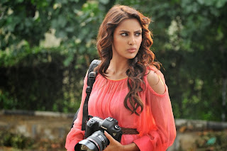 Priya Anand Super Cute White Tank Top and Orange Leggings from movie Vanakkam Chennai Spicy Pics