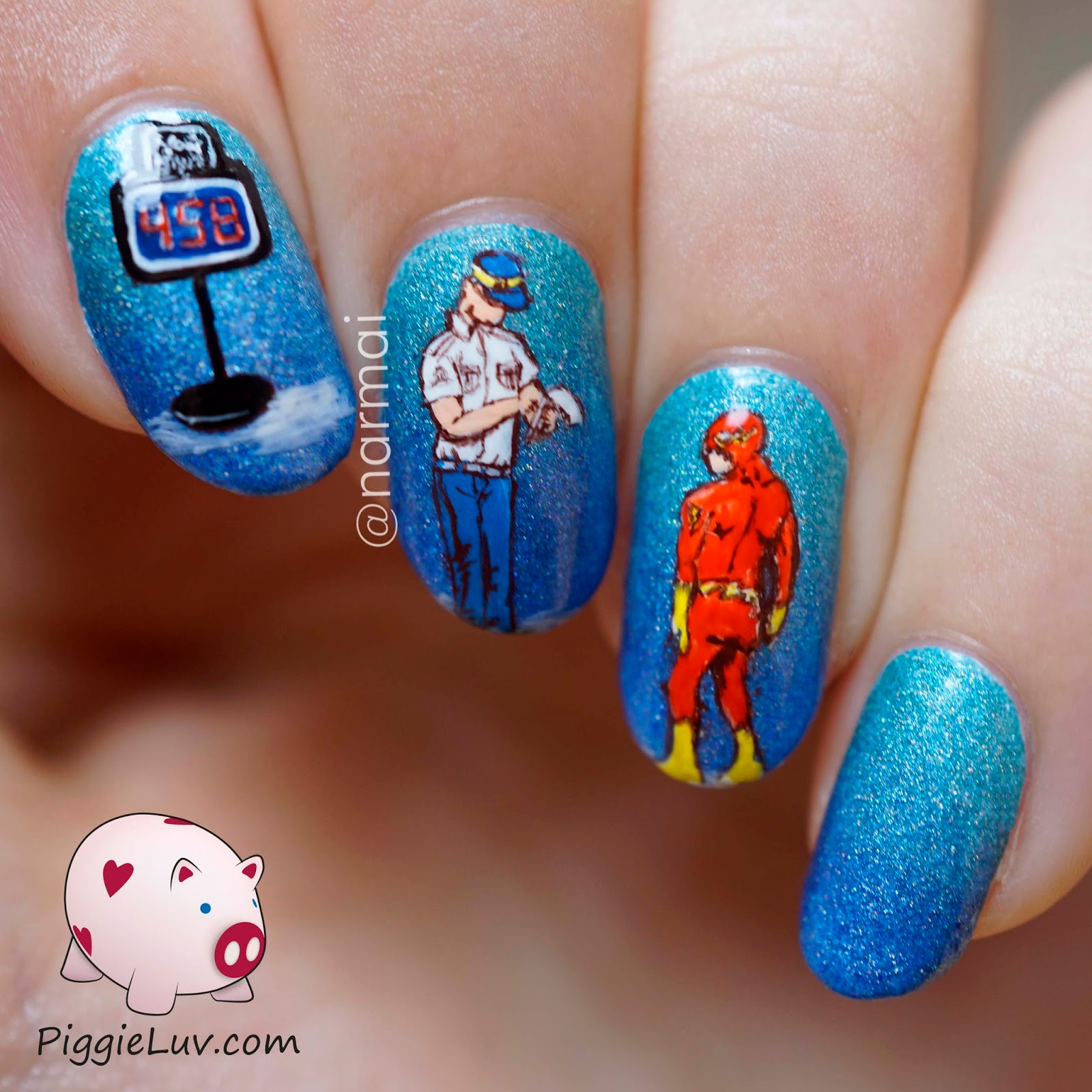 PiggieLuv: The Flash getting a ticket, freehand nail art