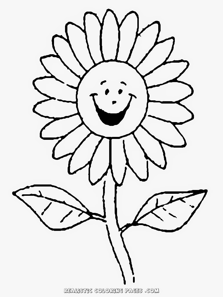 smiling simple flower coloring pages for kids printable