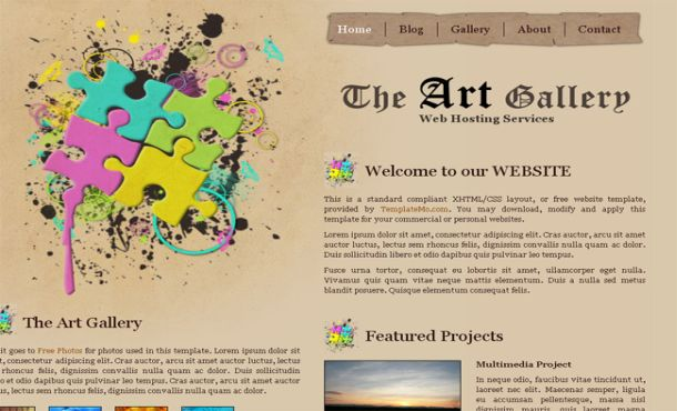Free Art Gallery Brown Website Template