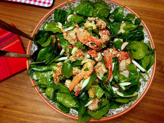 龍蝦茴香蕪菁嫩菠菜沙律