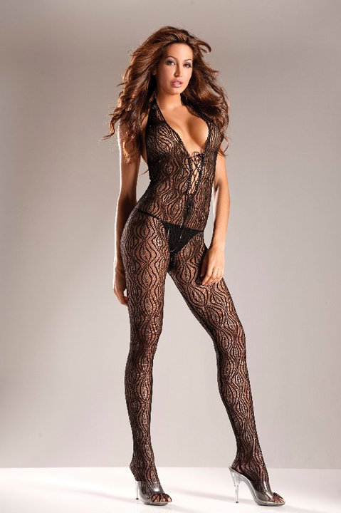 Lace Up Halter Body Stocking