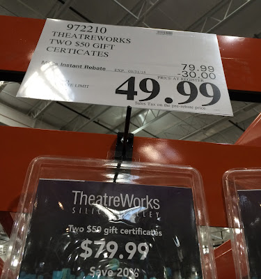 Save at Costco with 2 $50 gift certificates for TheaterWorks Silicon Valley