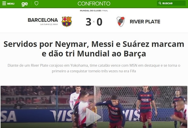 Print do Barcelona no Globo Esporte