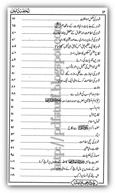 Contents of tuhfa-e-Dulhan pdf