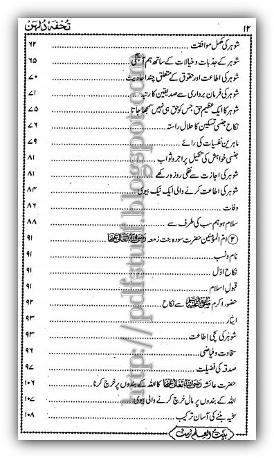 Contents of tuhfa-e-Dulhan pdf