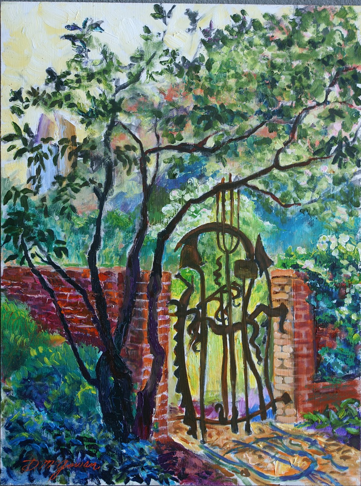 Whimsical Corner Gate In A Garden With Limelight Hydrangeas In The  Background.