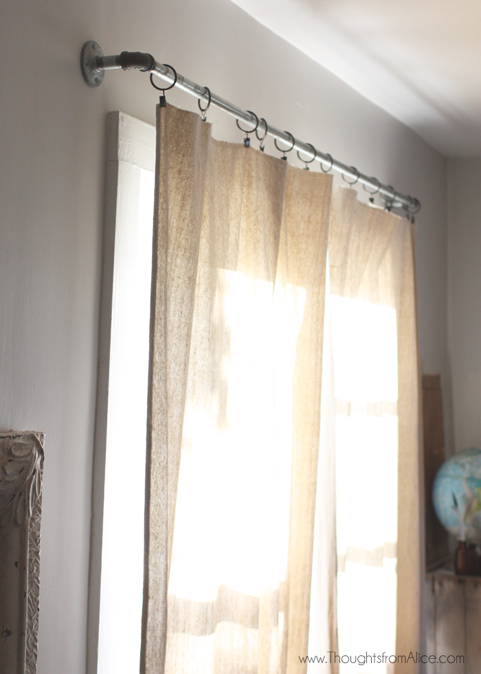5 minute no sew drop cloth curtains
