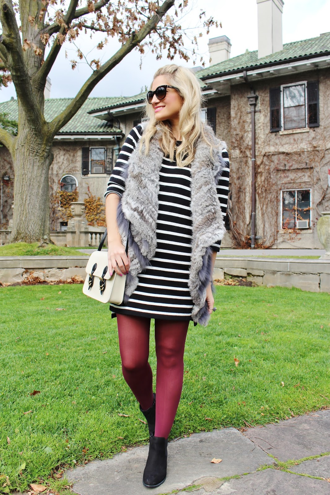 bijuleni- Wilsons Leather rabbit fur vest and striped dress