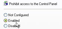 nonaktifkan control panel