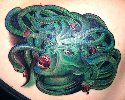 3D Snakes Tattoo on Upper Back
