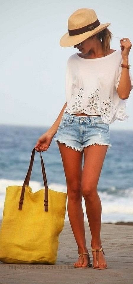 summer, panama hat, yellow beach bag, beach bag, cutoff jean shorts