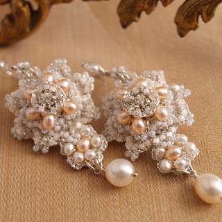 custom bridal earrings with silver lace, ivory and peach pearls