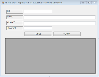 Cara Hapus Database SQL Server Pada VB Net 2013 | Belajar VB Net 2013 Gratis