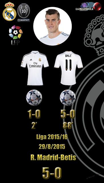 Bale (Doblete) - Real Madrid 5 - 0 Betis - Liga 2015/16 - Jornada 2 - (29/8/2015)