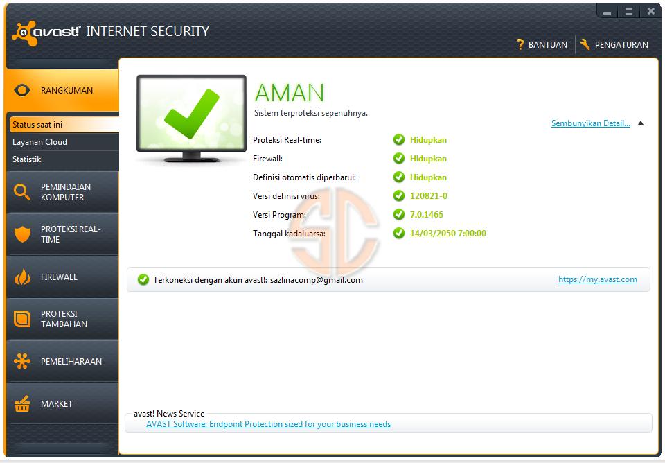 avast! Internet Security 7.0.1466 Full License Key