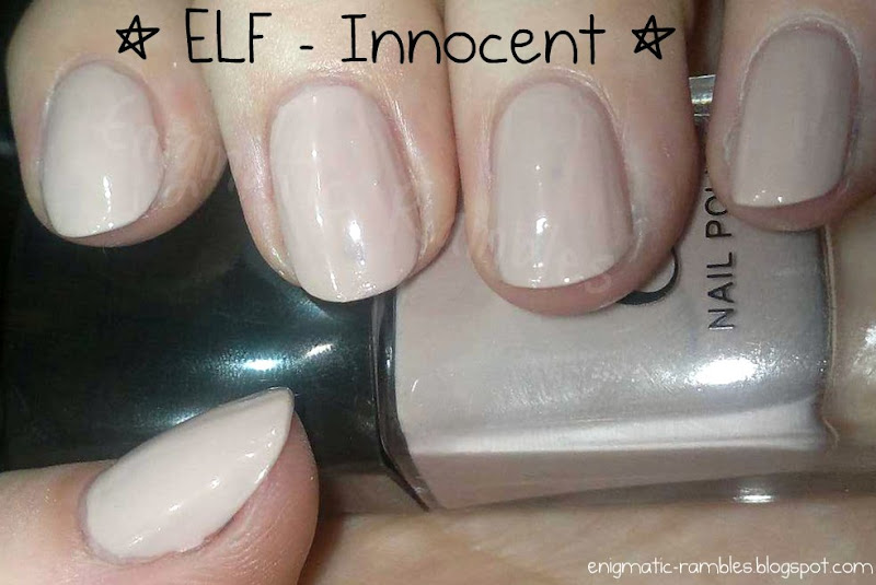 ... ELF Innocent as a base in some form of nail art and I haven't actually posted a swatch of it! So to quickly put that right this is a swatch of Innocent, ...