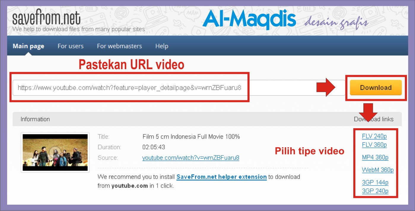 download video youtub dengan savefrom