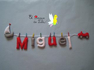 nombre-en-fieltro-Miguel-decoración-infantil-regalo-nacimiento-hecho-a-mano-name-banner