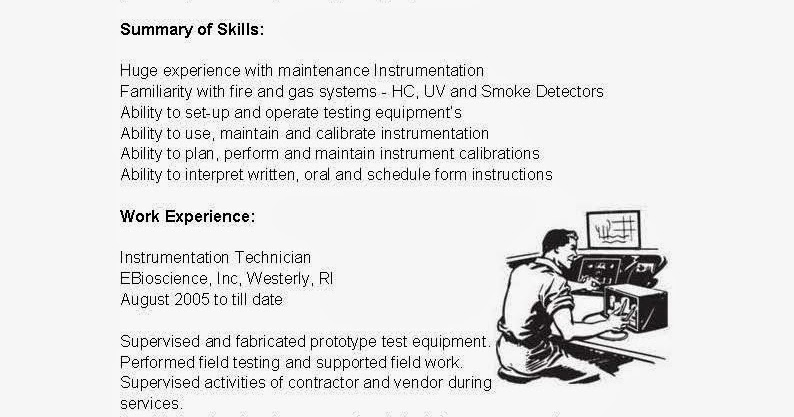 resume sles instrumentation technician resume sle