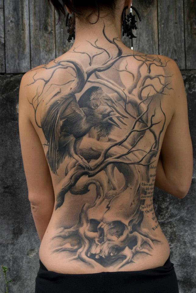 Back Crow Tattoo