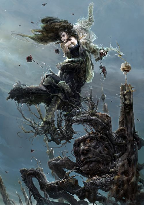 Kuang Hong illustrations fantasy dark grim Wind
