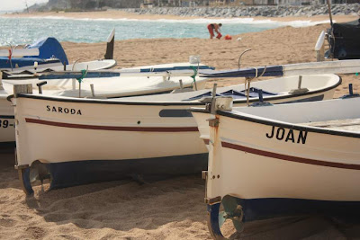 Boats on Les Barques Beach in Sant Pol de Mar