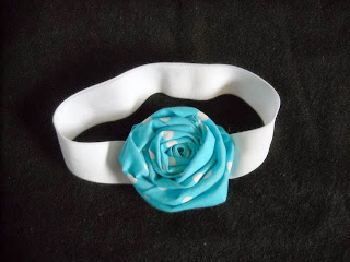 blue and white polka dot headband, rosette headband, rose headband, blue and white polka dots, elastic headband, baby headband