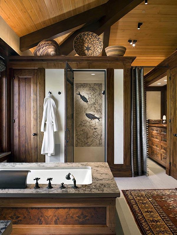 diseño rustico y brutalista en un retiro en las montañas-baño