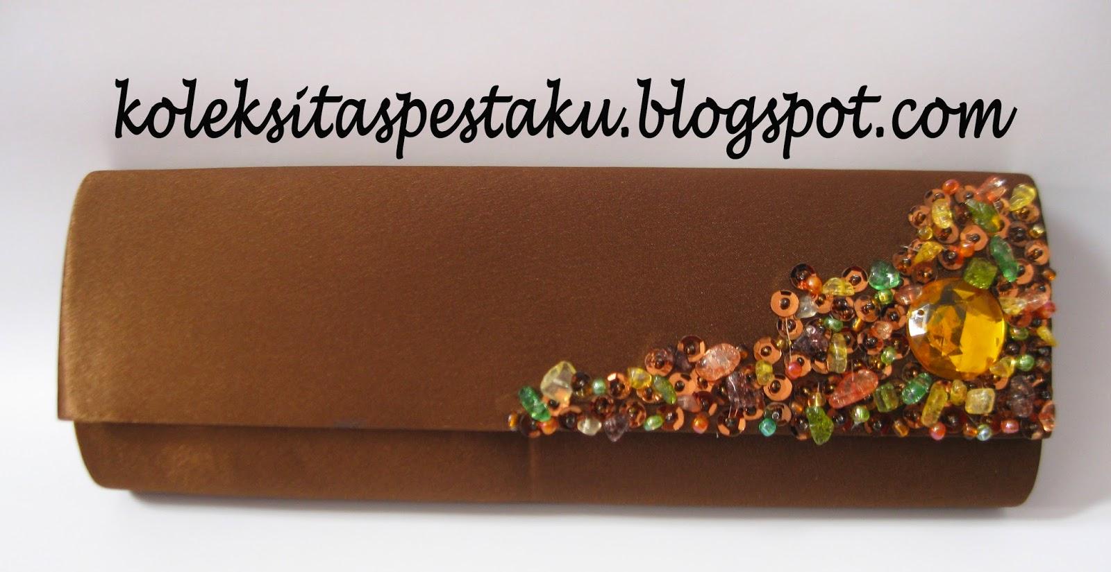 Coklat Dompet Tas Pesta Mewah dan ANggun