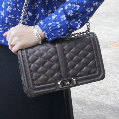 Away from The Blue | Rebecca Minkoff Love quilted cross body bag in charcoal grey