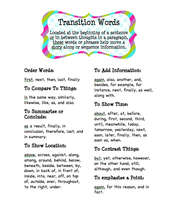 good list of transition words for essays If you find that your essay lacks smooth transitions, the list of 97 transition words for essays will help you to add some if your essay feels redundant upon second reading because you've used similar transition words repeatedly, use these categories to find some good replacements.