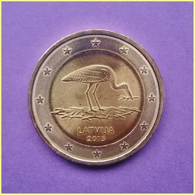 2 Euros Letonia 2015 Cigüeña Negra