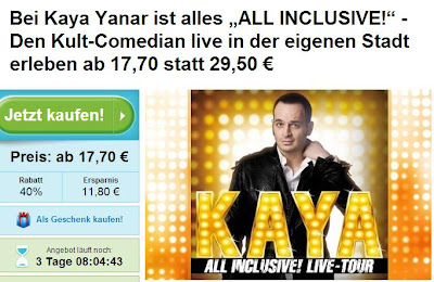 Groupon: Tickets für Kaya Yanar ALL INCLUSIVE! ab 17,70 Euro