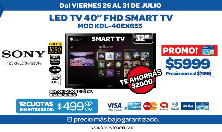 ofertas y promos en argentina promos smart tv sony en carrefour. Black Bedroom Furniture Sets. Home Design Ideas