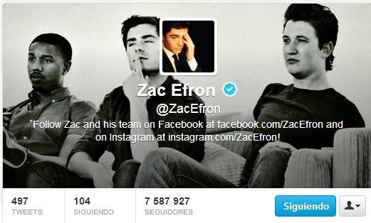 Twitter Oficial de Zac Efron
