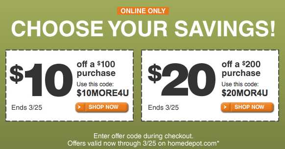 Discount home depot coupons