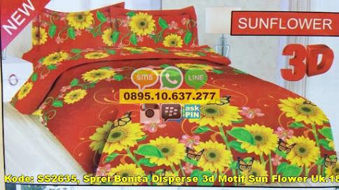 Sprei Bonita Disperse 3d Motif Sun Flower Uk.180x2