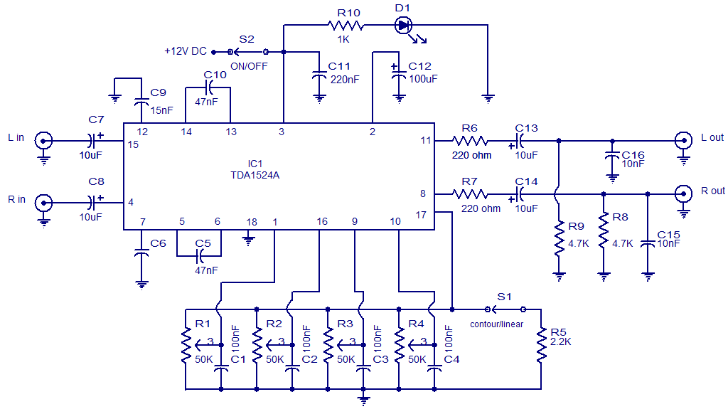 Stereo preamplifier with tone control