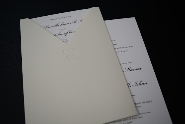 Embossed Monogram wedding invitation