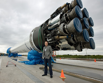 Elon Musk and the SpaceX Falcon 9 rocket at Cape Canaveral, Florida