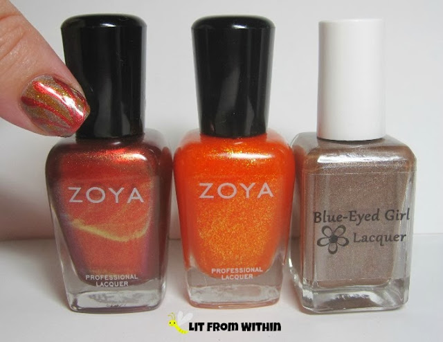 Bottle shot:  Zoya Channing and OC Cooler, and Blue-Eyed Girl Lacquers I'm Going Through Some...Changes